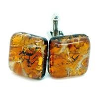 Cufflinks Orange Murano Glass Amber Coloured Square Handmade from Venice
