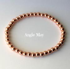Solid Copper 4mm Beaded Petite Healing Stretch Bracelet 6