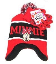 Girls Minnie RED KNIT HAT Pom-Pom BEANIE GLOVES SET