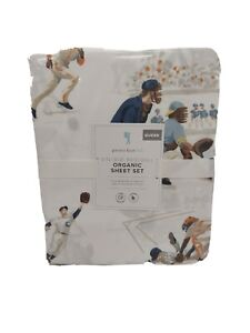 """Pottery Barn Kids Vintage Baseball Organic Sheet Set Queen 60""""x80"""" New with Tags"""