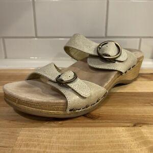Dansko Women Manda 9400611400 Buckle Ivory Slide Sandals Shoes 40 US Size 9.5-10