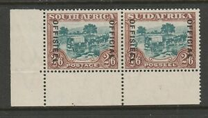 South Africa 1930-47 2/6d Green & brown with variety R 2/1 SG O18a Mint.