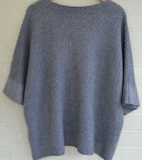 Women's Grey jumper waffle  baggy loose long ultra soft casual 3/4 sleeve