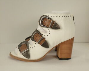 Women's White & Brown Studded Sandals Women's Shoes size 38