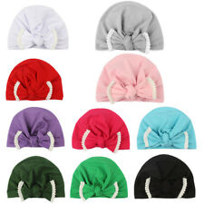 Fashion Newborn Toddler Kids Baby Girl Turban Cotton Bow Beanie Hat Winter Cap