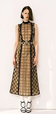 Alessandra Rich Black Check Lace Dress With Black Macrame Chains It 42 uk 10
