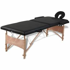 2-Section PU Portable Massage Table Black Spa Facial Tattoo Pad Bed w/ Carry Bag