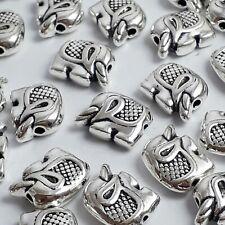 10pcs Elephant Boho Novelty Animal Beads Antique Silver 12x9mm - B0117670