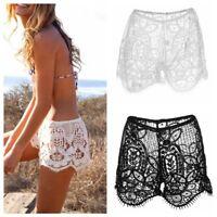 S M L Women Summer Sexy High Waist Hollow Lace Floral Beach Boho Hot Pants New