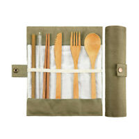 Portable Bamboo Cutlery Travel Eco-friendly Fork Spoon Set + Muticolor Pouch UK