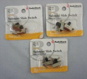 3 Packs (2 Each) SPST Submini Slide Switch ~ 0.3A at 125VAC  RadioShack 275-406