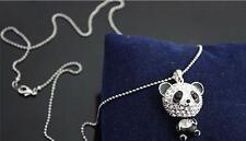 Women Full Rhinestone CRYSTAL Panda Bear Long chain Pendant Necklace #JEWNEW