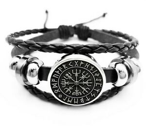 Leather Vegvisir Rune Compass Cuff Bracelet Icelandic Stave Thor Odin Viking