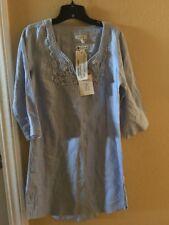 Malvin I Love linen Tunic Dress Shirt Blue Women's Medium