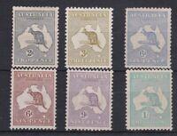 K1164) Australia 3rd wmk. Kangaroos set 2d – 1/-, inc. both 6d values mint