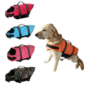 Pet Swimming Life Vest Dog Safety Jacket Reflective Stripe Dog Swim Float Vest