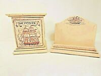 The Voyager Sailing Ship Nautical Resin Pen Cup Business Card Holder Set CHIP