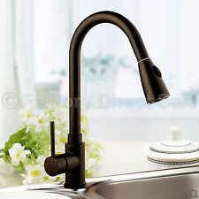 "Pull-Out Faucet Spray Swivel 16"" Kitchen Sink Dark Brown Pull-Down Plumbing New"