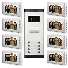 "8 Units Apartment Intercom System 7"" Video Door Phone Visual Intercom Doorbell"