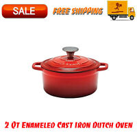Artisanal Kitchen Supply 2 Qt Enameled Cast Iron Dutch Oven in Red, Home Kitchen