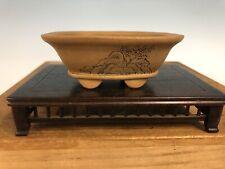 "Handmade Etched Shohin Size Bonsai Tree Pot By Maruhei 4"""