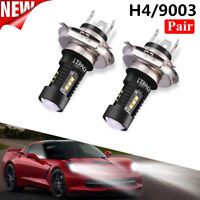 Pair H4 9003 60W 1800LM 6000K Car COB LED Conversion Headlight Bulb Hi/Lo Beam ~