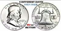 LOT OF 4 DIFFERENT BRILLIANT UNCIRCULATED SILVER FRANKLIN HALF DOLLARS! 1957-60