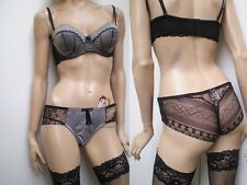 Boutique Quality Satinised Silky Bra With Complimentary Brief Pick & Mix Sizes. 36 C Grey Polyester S