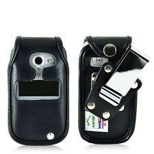 Doro PhoneEasy 626 Flip Phone Fitted Case Black Leather Metal Clip Turtleback