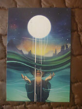 POSTCARD...TRANSCENDENCE BY HIEU NGUYEN...LUNAR...SPACE..WOMAN...FULL MOON
