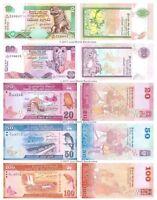 Sri Lanka 10 + 20 + 20 + 50 + 100 Rupees Set of 5 Banknotes 5 PCS UNC