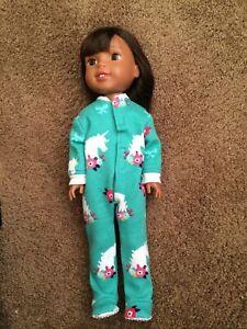 "Fits Wellie Wishers Teal Unicorn Flower Footie Pajamas American Girl 14"" Doll"