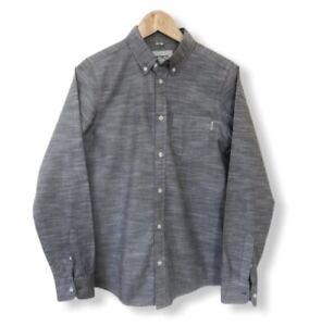 Men's Carhartt WIP Button Down Shirt Grey Rogers Oxford Cotton Sz Small Casual