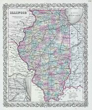 1856 Colton Map of Illinois