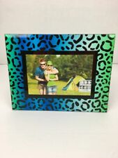 Sixtrees 4x6 Picture Frame Blue Green Leopard Beveled Glass