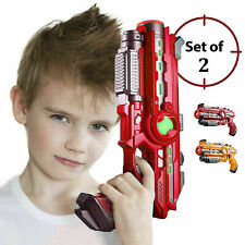 Set of 2 Infrared Laser Tag Guns Indoor & Outdoor 2 Player Activity Red / Yellow