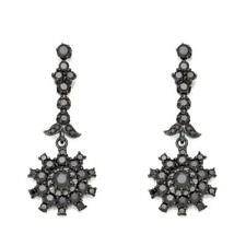 Millie 5.34Ct Black Spinel Rhodium Clad Sterling Floral Drop Earring Hsn Soldout