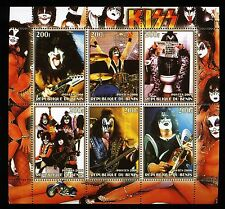 KISS 2006 Du Benin Stamp Block Sheet; perforated mnh; Gene Simmons Toilet Reader