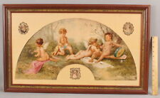 New listing 19thC Antique French Neoclassical Cherub Fan Painting + Miniature Silk Portrait