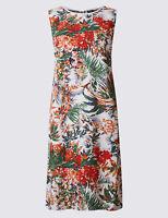 New M&S COLLECTION Linen Blend Floral Print Tunic Dress Sz UK 12 14  22