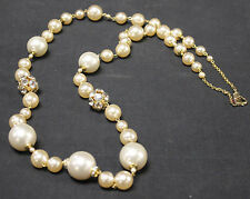 Poggi Paris French Designer Necklace Faux Pearl and Rhinestone Strand Necklace