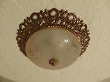 antik alte Plafoniere Lüster Deckenlampe Messing Gold Glas Frankreich
