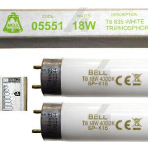 2 x 18w fluorescent tube strip lamp 2ft 600mm T8 26mm white 3500k under cupboard