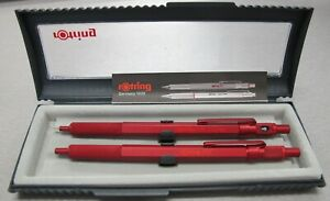 Rotring 600 Red Hexagonal Knurled Grip Ballpoint Pen & Pencil Set New In Box