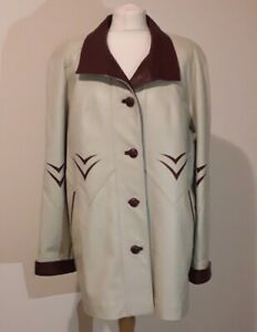 ROYAL LEATHER Leather Jacket Coat Cream Red Accents Sz M