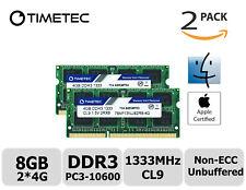 Timetec 2x4GB DDR3 1333MHz PC3-10600 Non-ECC 1.5V 2Rx8 SODIMM Apple Memory RAM