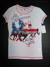 Girls Horse Shirt sz 10 12 Patriotic equestrian pony riding camp NEW