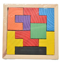 1x Wooden Tangram Brain Teaser Puzzle Tetris Game  Educational Baby Child Toy VS