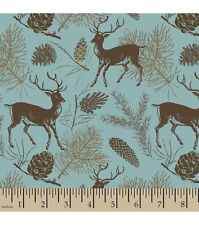 Flannel Fabric TEAL DEER Pattern 3 yds X 42 in 100% Cotton