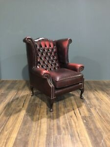 Lovely Twice Loved Leather Chesterfield Chair - Rich Deep wine